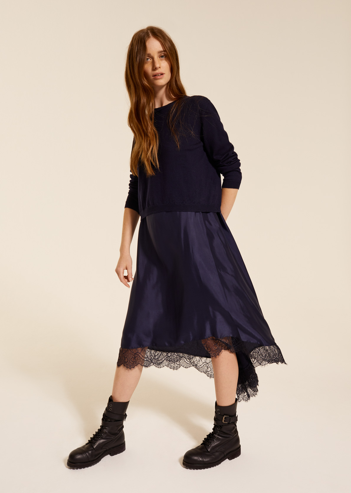Boxy jumper and dress with lace