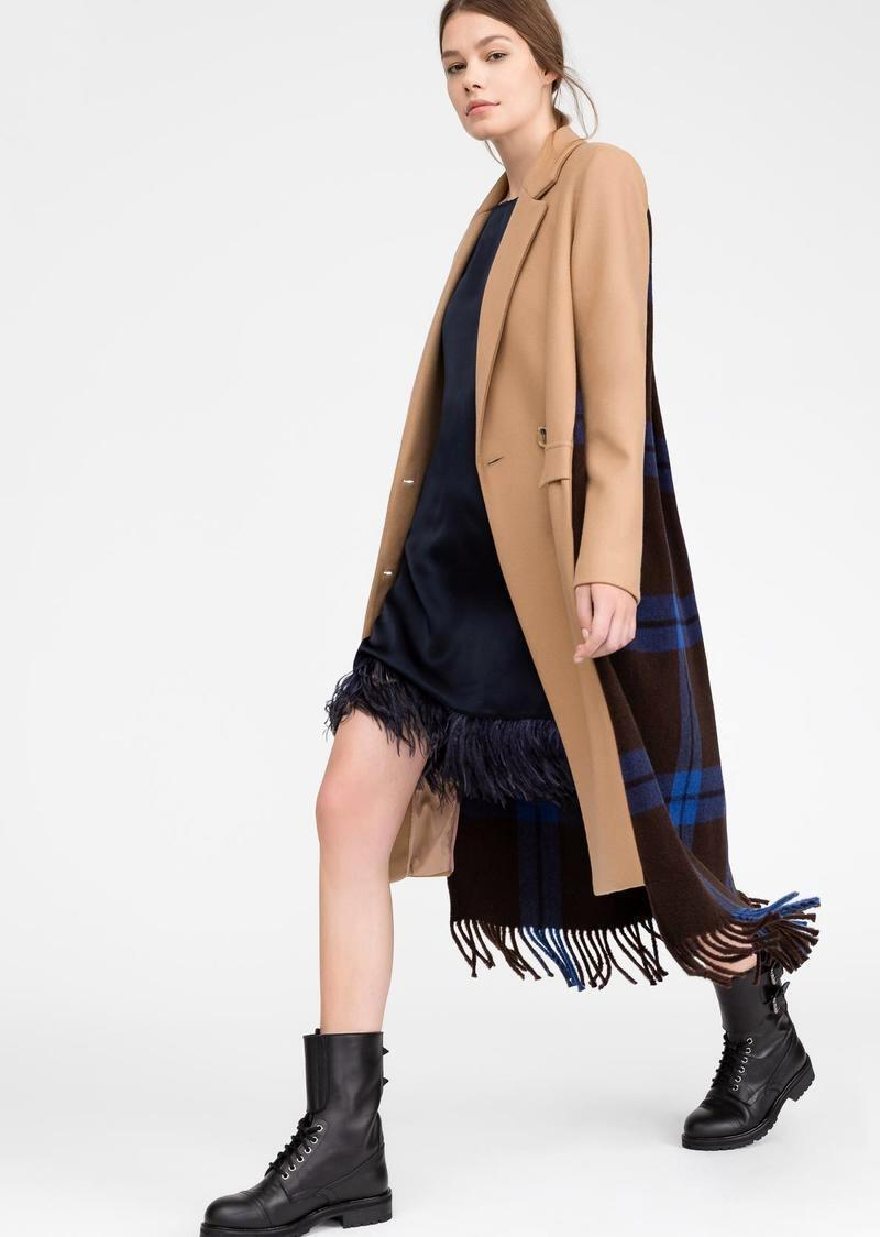 Coat with check cloth