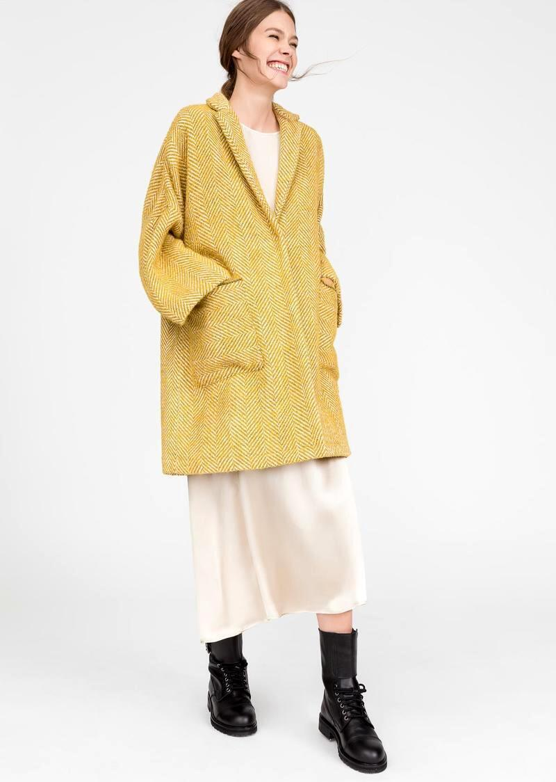 Model Name Sigmund. Bouclé fabric coat